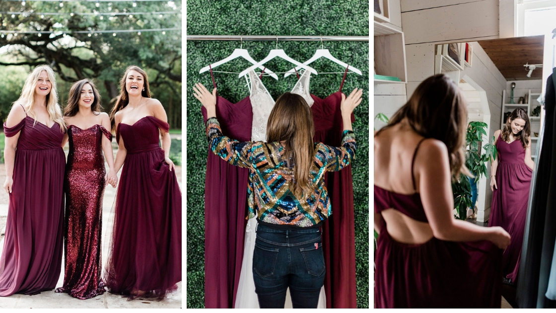 Bridesmaids dresses tulle sequin chiffon burgundy red color mona bridal gown michelle hanging up gowns