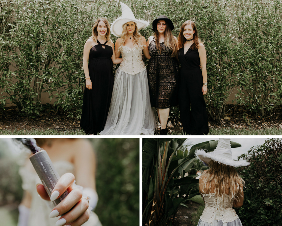 Bride poses with bridesmaids outside and lights smoke bombs for pictures