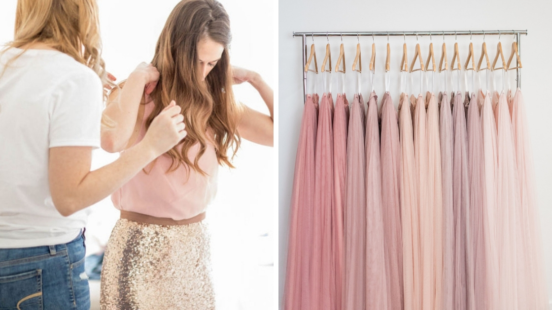 bridesmaids getting ready at wedding mila skirt and chiffon top in blushes and pinks tulle skirts skylar skirts