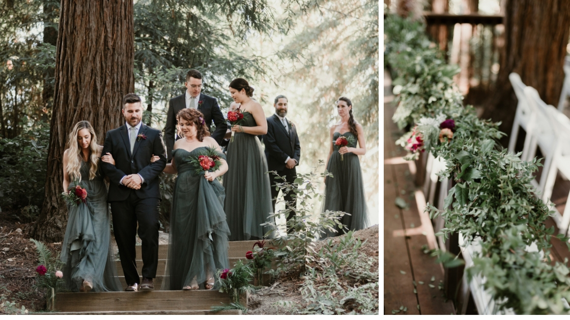 Bridesmaids in blue and green rosalie revelry dresses walk down forest aisle at redwood wedding with gorgeous greenery