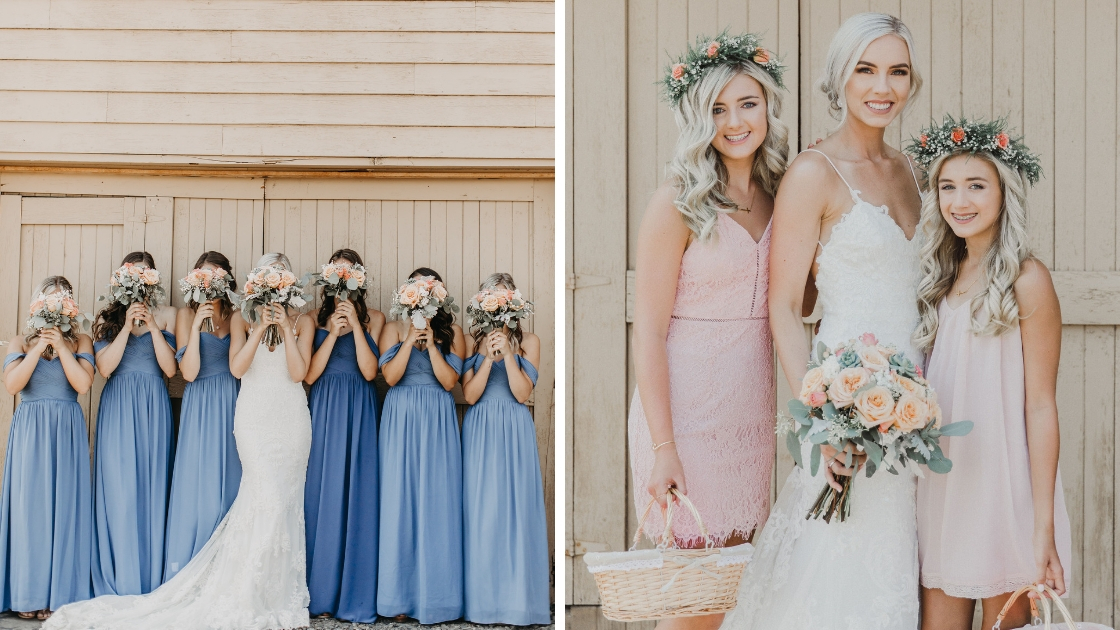 Bridesmaids in blue revelry chiffon dresses stand with bride and cover faces with pink flower bouquets flower girls in pink with flower crowns