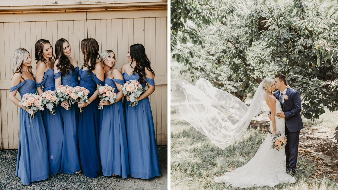 Bridesmaids in blue Revelry wedding dresses smile and post and bride and groom pose and kiss on the cheek