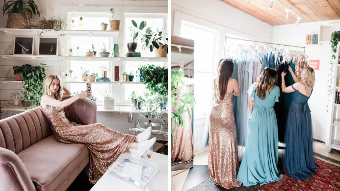 Bridesmaids in gold sequin dresses and blue chiffon and tulle dress taking selfie on mauve couch with greenery and florals behind