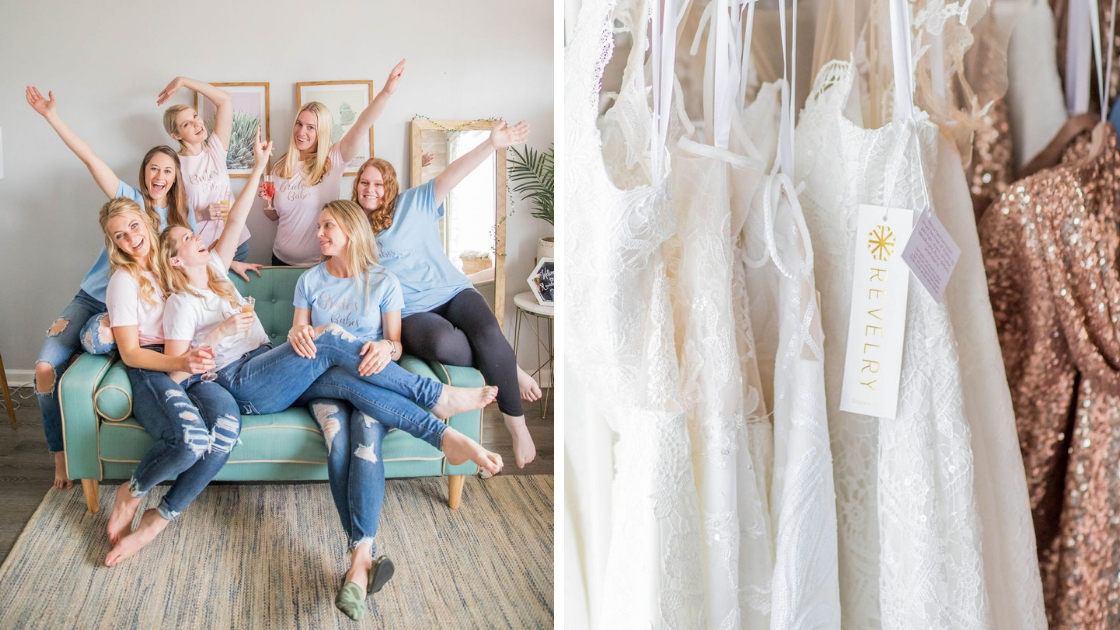 Bridesmaids in jeans with matching bridesmaid shirts pose and smile on couch at revelry try-on party wedding dresses gold sequin dresses revelry gowns