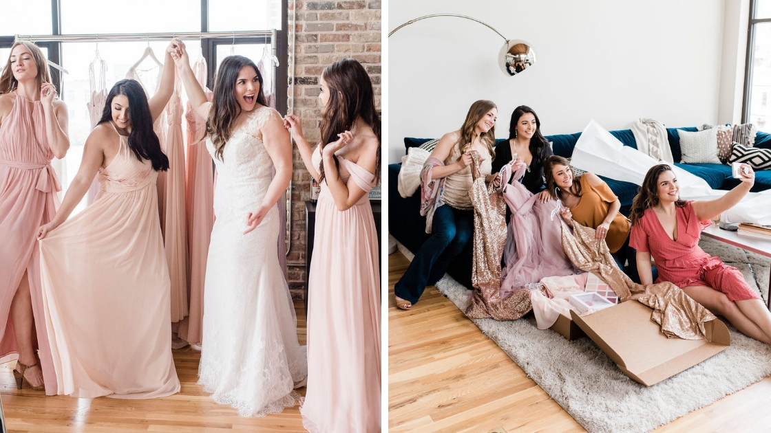 Bridesmaids in pink revlery chiffon dresses halter neck and off the sleeve dance and pose twirl wedding dresses rack shot bridesmaids pull out sample box smile and pose for selfie with dresses and swatches in view