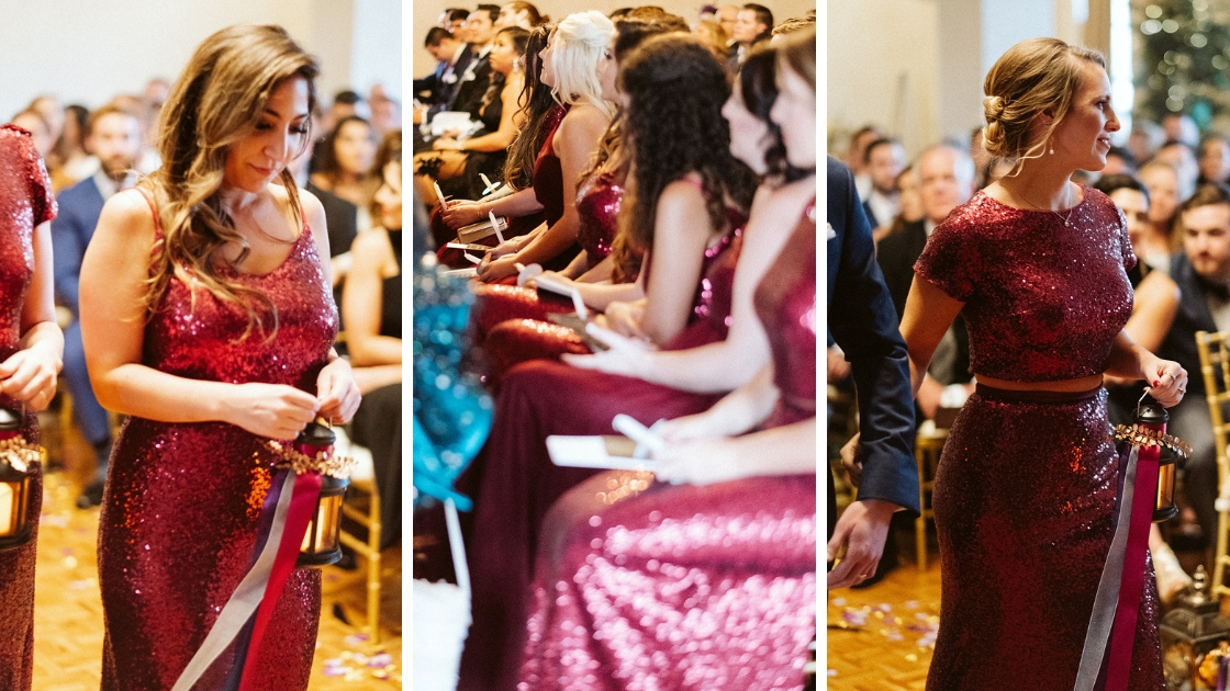 bridesmaids in red burgundy cabernet revelry sequin and tulle gowns at halloween wedding