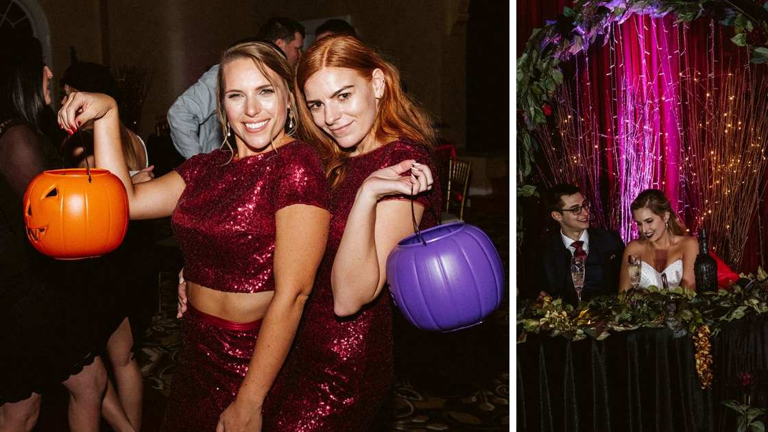 bridesmaids in sequin cabernet reverly gowns in red at halloween formal wedding