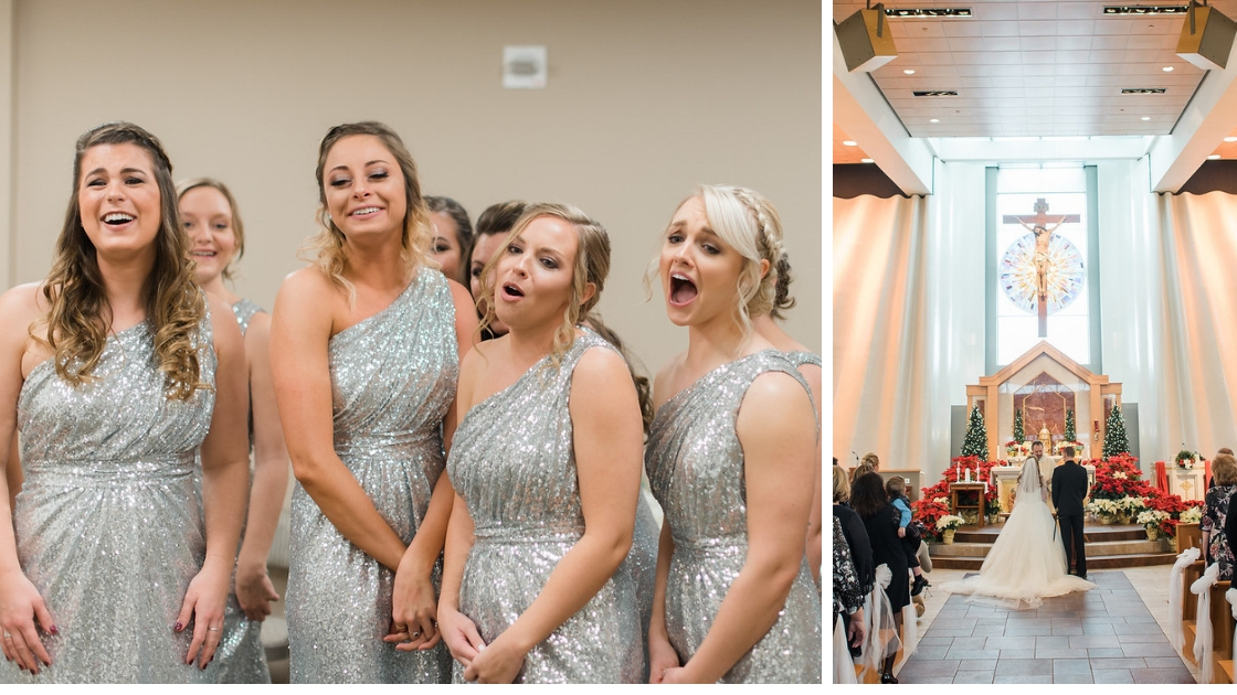 silver sequins in wedding ceremony revelry bridesmaids