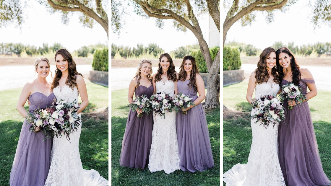 bridesmaids is purple revelry tulle rosalie gowns different hues holding purple bouquet flowers
