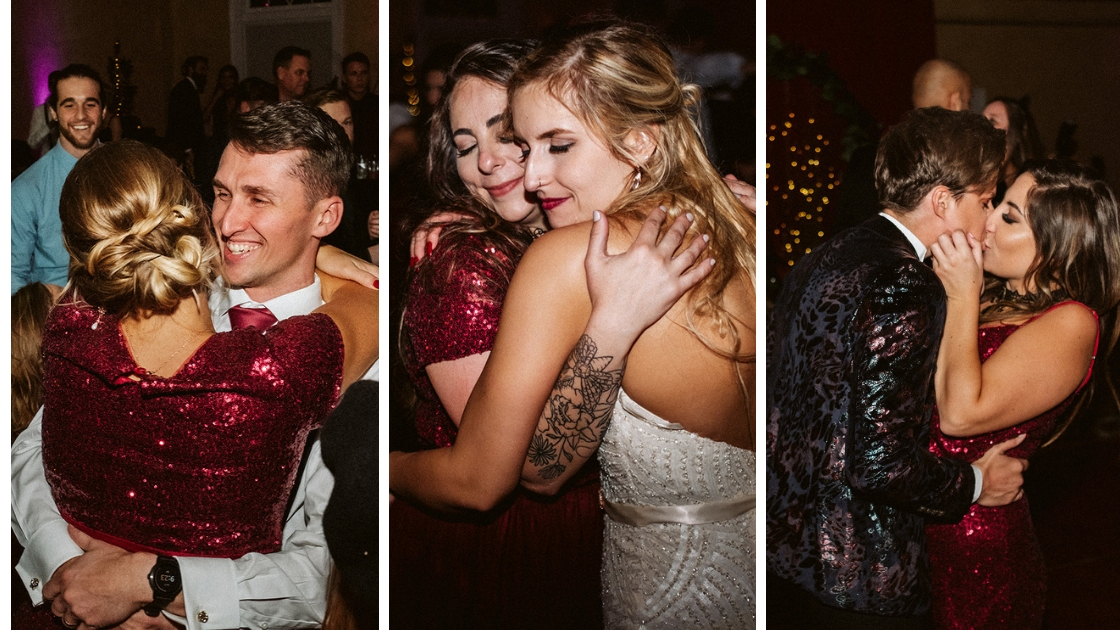 Bridesmaids loving and hugging date and bride looking happy at halloween wedding