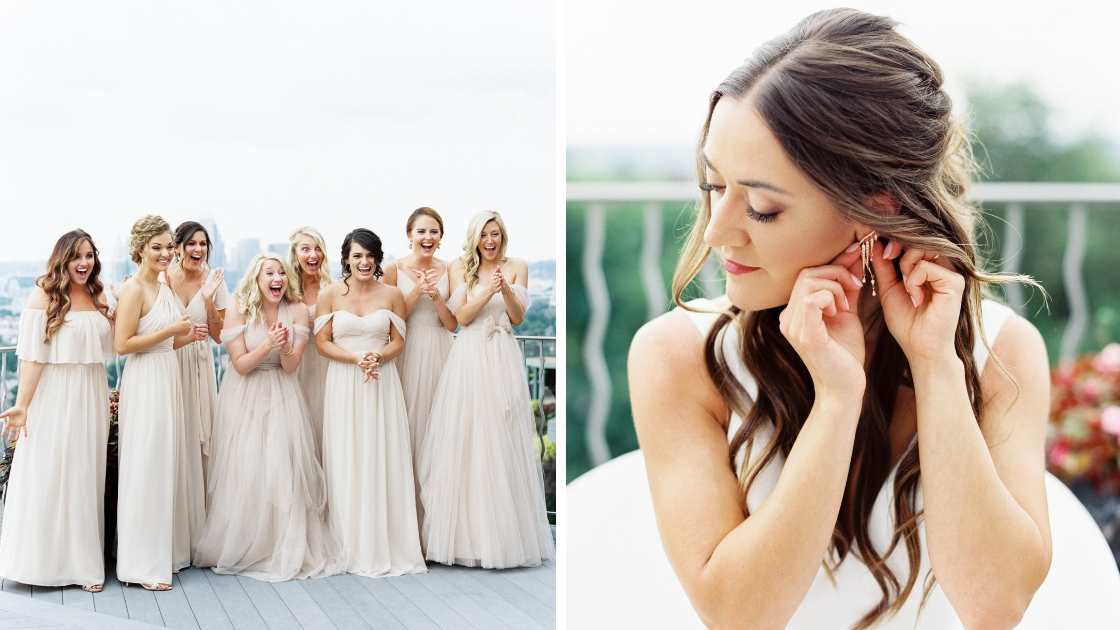 Bridesmaids seeing best friend for the first time tulle chiffon champagne bridesmaid dresses gowns off the shoulder dresses bride putting earrings in on wedding day