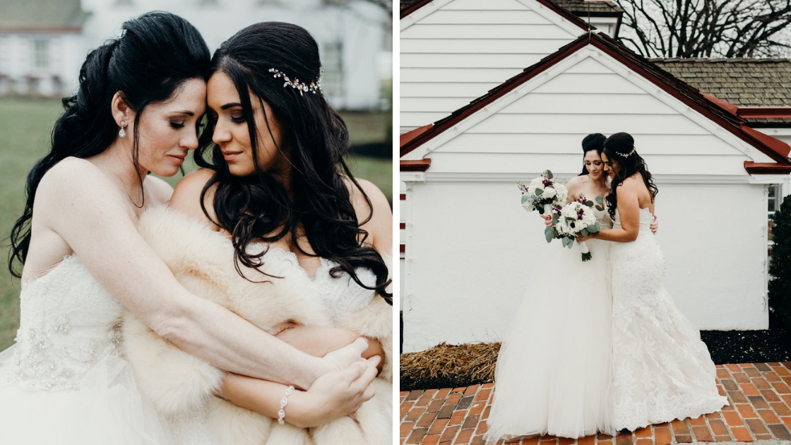Brunette brides hugging each other on wedding day brides in lace wedding gown bridal gown tulle dress beaded bodice