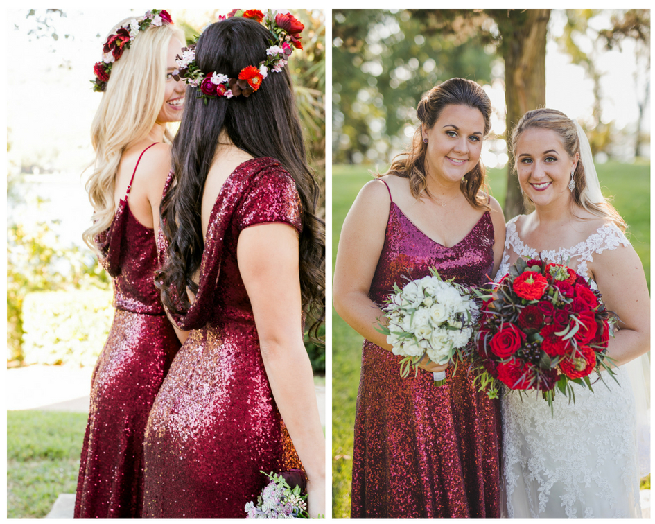 Cabernet sequin bridesmaid dresses add a touch of glamour from Shop Revelry.