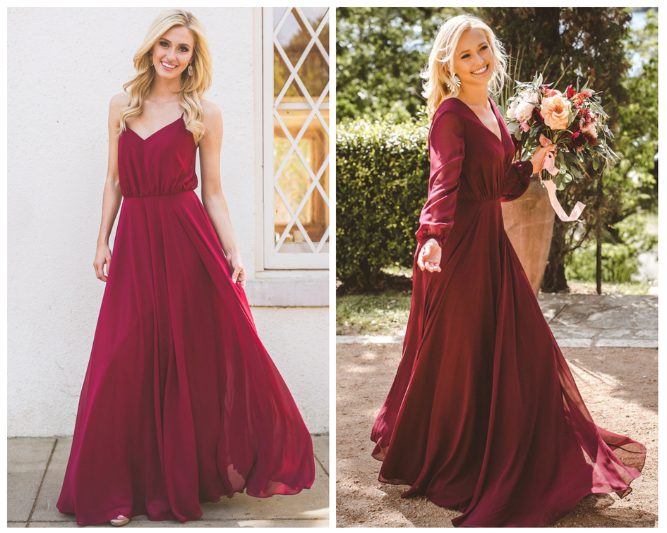 Merlot and Marsala are the top colors for  bridesmaids in fall styles. long sleeves, criss cross straps, and flowing chiffon skirts make theses style stand out in a crowd.