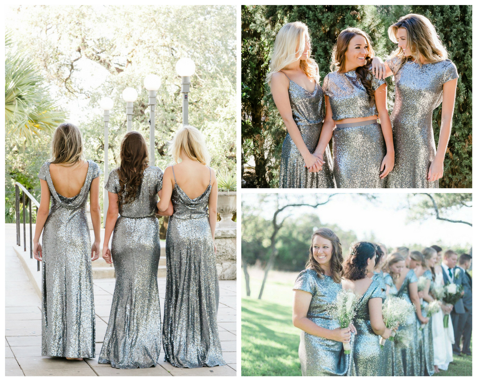 charcoal sequins from Shop Revelry are the Unexpected Bridesmaids look your girls will thank you for.