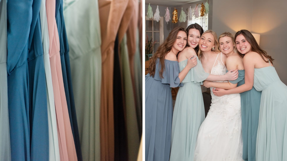 Chiffon dresses blue dress pink mint dresses bridesmaids in off the shoulder gowns bridal gown mona wedding dress white dress hugging friends