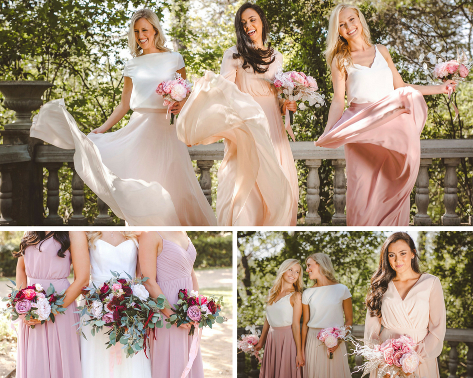 blush Chiffon skirts and tops offered by Revelry.