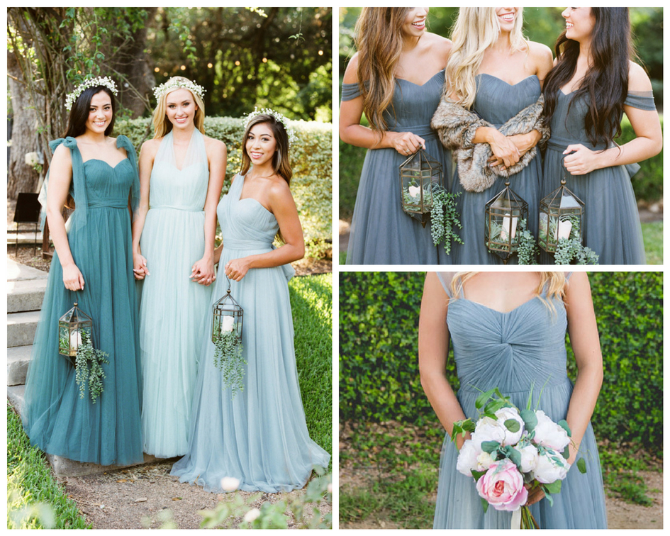 multiwear tulle bridesmaid dresses from revelry can be worn so many different ways. With long tie straps/ belts and removable shoulder straps.