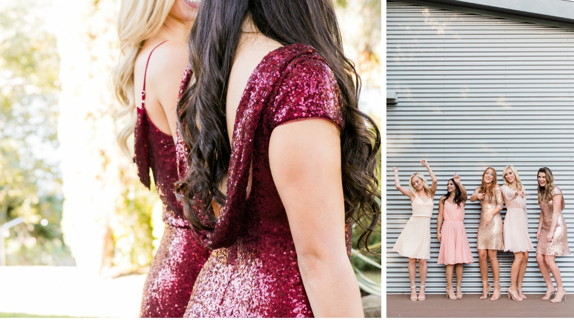 Chloe and hazel sequin dresses in cabernet and red gowns sparkling cocktail dresses revelry bridesmaid holiday styles