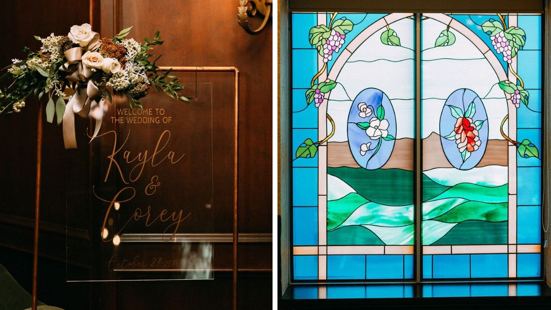 Clear october wedding sign kaylar and corey stained glass window blues and greens beautiful fall wedding venue