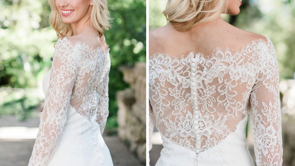 close up shots of revelry wedding dress southhampton bridal gown lace details pretty buttons