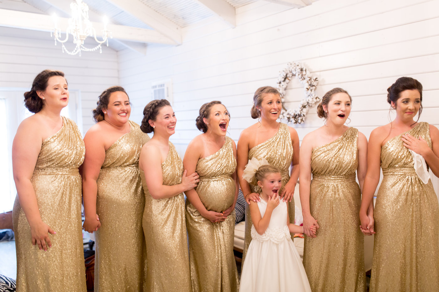 Beautiful brides in Starta dress and ivory gold and see friend on her wedding day