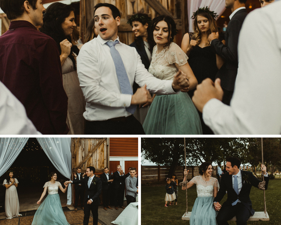 Bride and groom get silly on the dance floor and swing on their wedding day