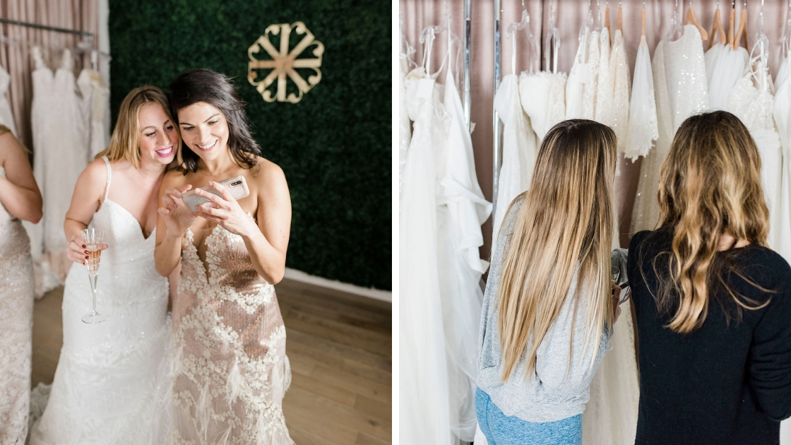 Dallas and friend taking selfies in wedding dresses love and friendship looking at wedding dresses