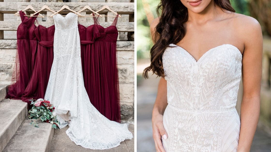 Decklyn wedding dress bridal gown art deco and lace details next to cabernet tulle bridesmaid dresses
