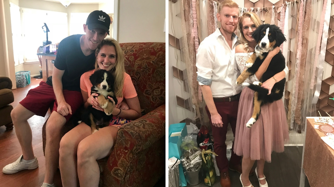 Dee and fiance holding puppy and meeting dog for the first time smiling at engagement party
