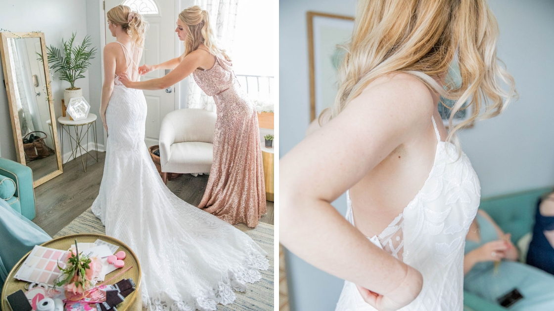 Dee finally the bride with bridesmaid in rose gold sequin bridal gown art deco sequin gown white dress scallop edge train wedding day look try on party