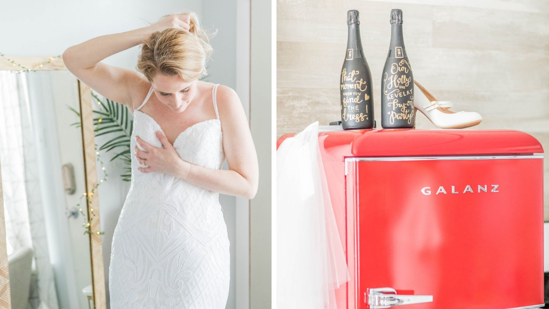 Dee Revelry finally the bride in Raden bridal gown art deco wedding dress black champagne bottles gold letters on top of red fridge galanz dress blonde bride