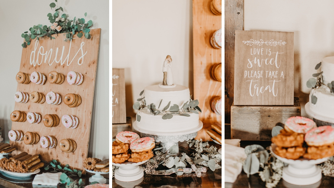 Dessert table at wedding donuts cake cookies and rustic take on wedding day