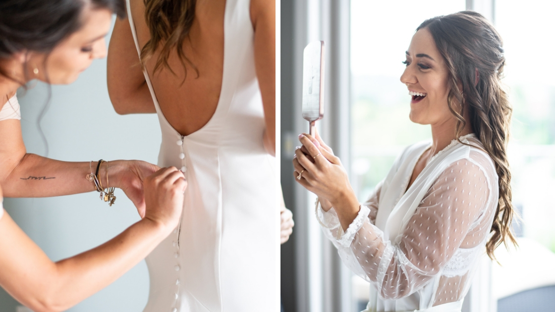 Detail shot of bride igetting buttoned up back bridal gown bride looking at self in mirror brunette white gauzzy robe