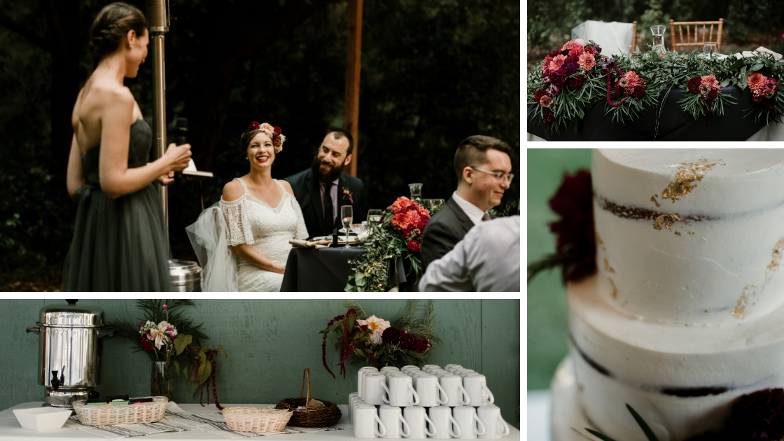 details of caitlin and roberts redwood forest wedding coffee bar with mint greenery cake with gold leafing and sweeheart table