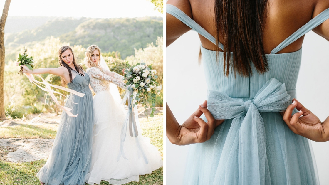 Dusty blue bridesmaid dresses rosalie gown powder sky revelry wedding dresses