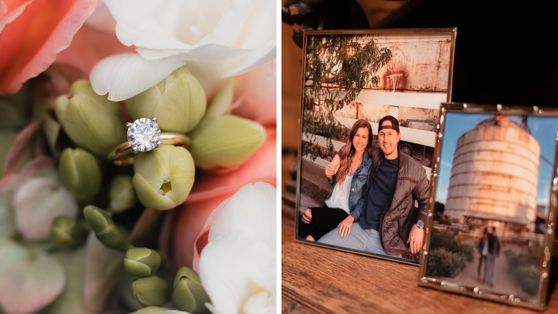 engagement ring in bouquet greenery white pink buds couple engagement silo photos picture frames