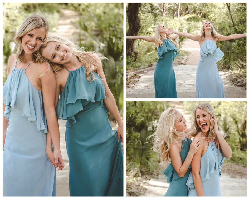 Ruffled detail on fitted chiffon bridesmaid dresses featuring sleek lines and the perfect cool girl bridesmaid.