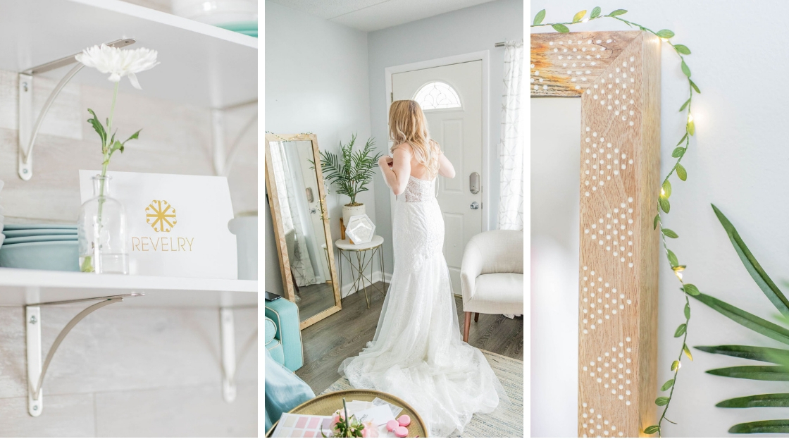 Finally the bride Dee wedding bride wedding dress decklyn gown revelry gold light up leaves from target mirror try on party