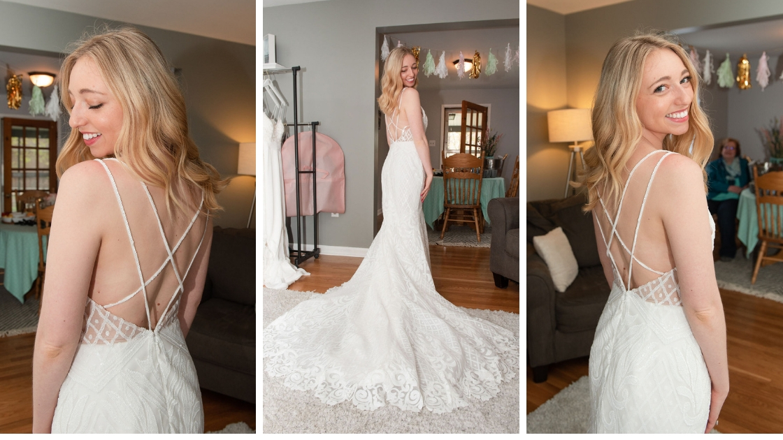 Finally the bride sarah arpino criss cross wedding dress back lace sequin blonde bride smiling at revelry try-on party