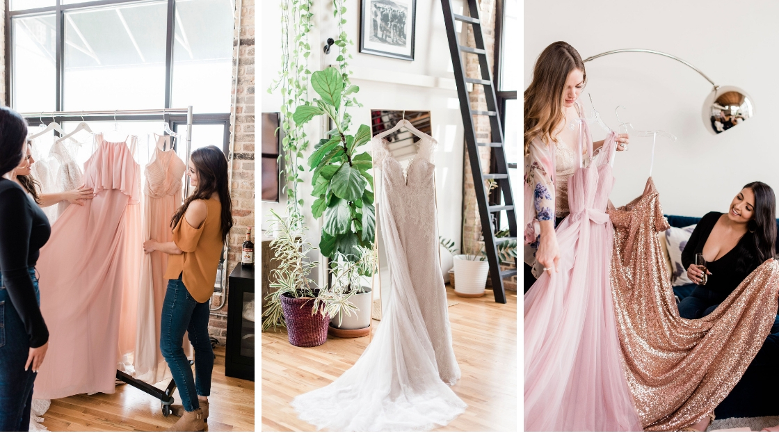 Find inspo may 2019 blog post three photos bridesmaids looking at pink and blush chiffon dresses in austin lost wedding dress in center photo with greenery all around