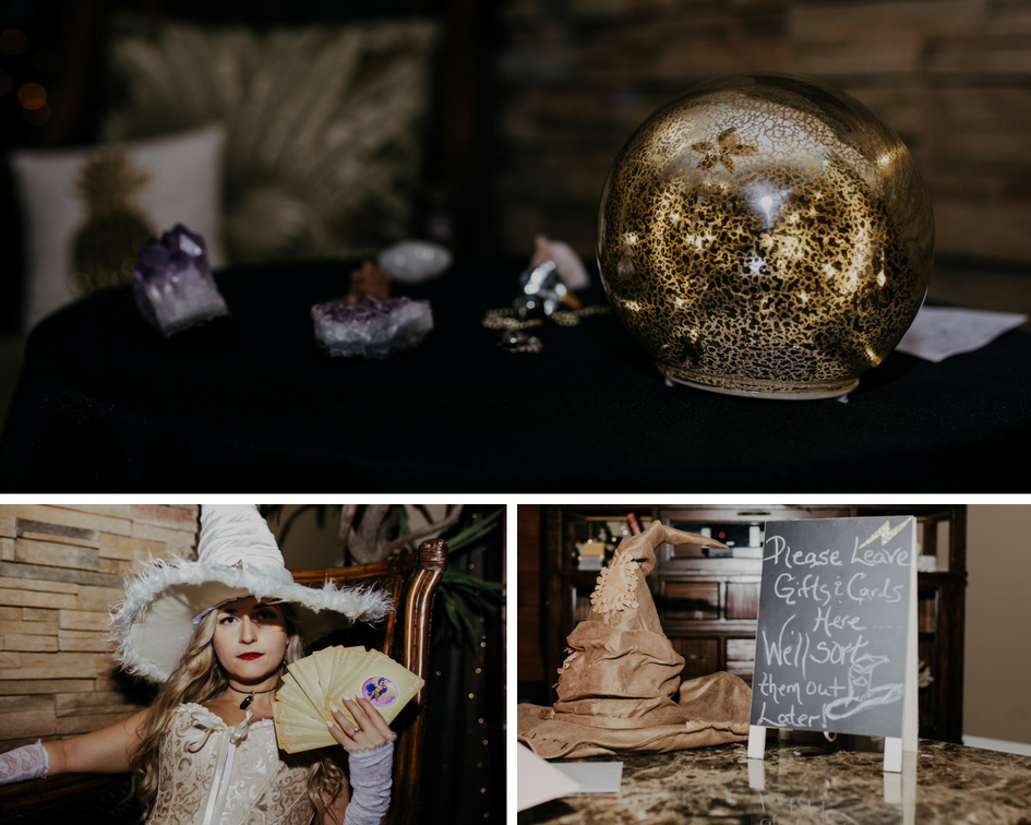 magical details include crystals, crystal ball, tarot cards, and sorting hat at harry potter party