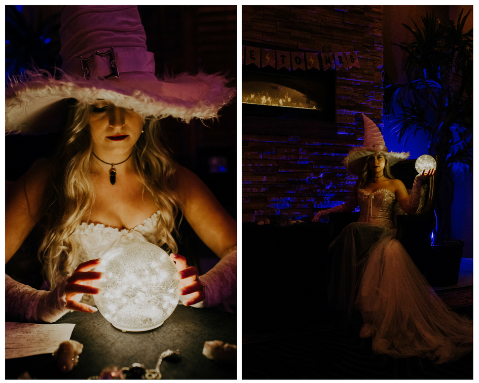 bride looks at light up ball orb and tells fortune