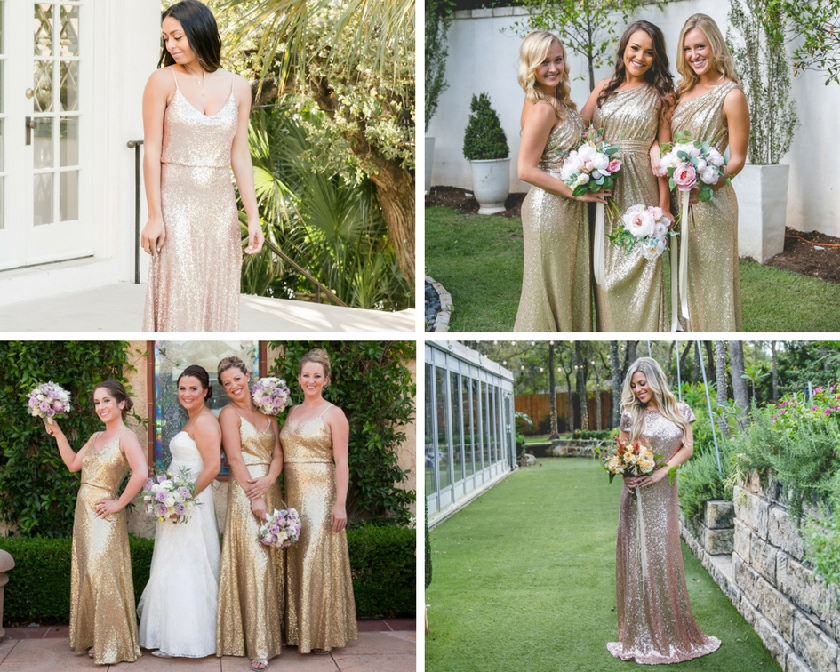 bridesmaids pose in all sequin styles in various shades of rose gold, matte rose gold, ivory gold, and gold metallics.
