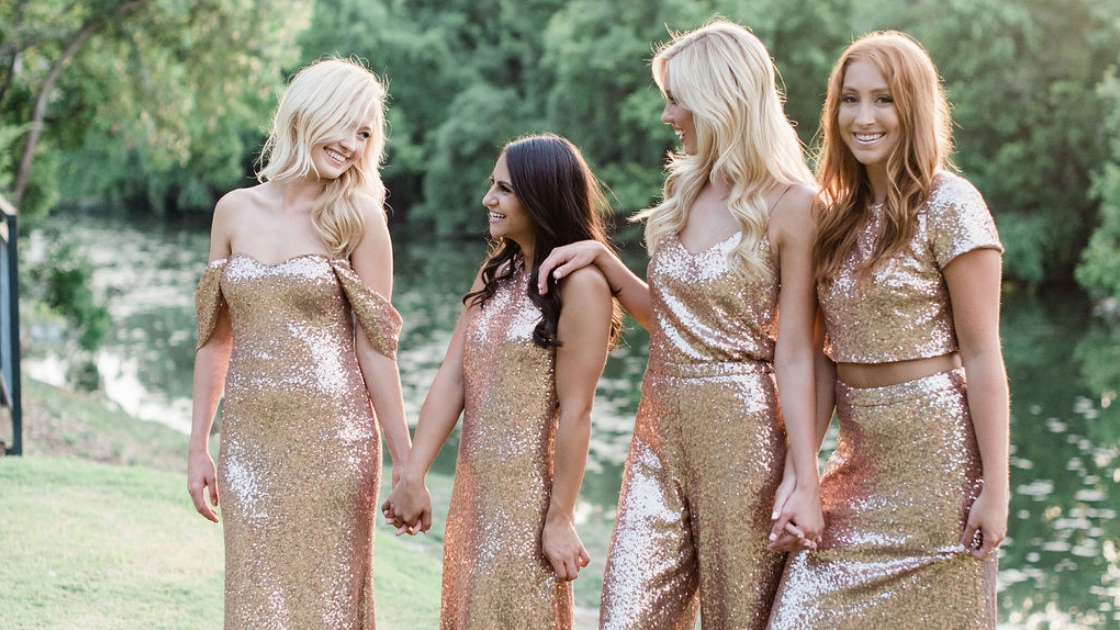 four girls in different sequin gowns blonde and brunette rose gold sparkles
