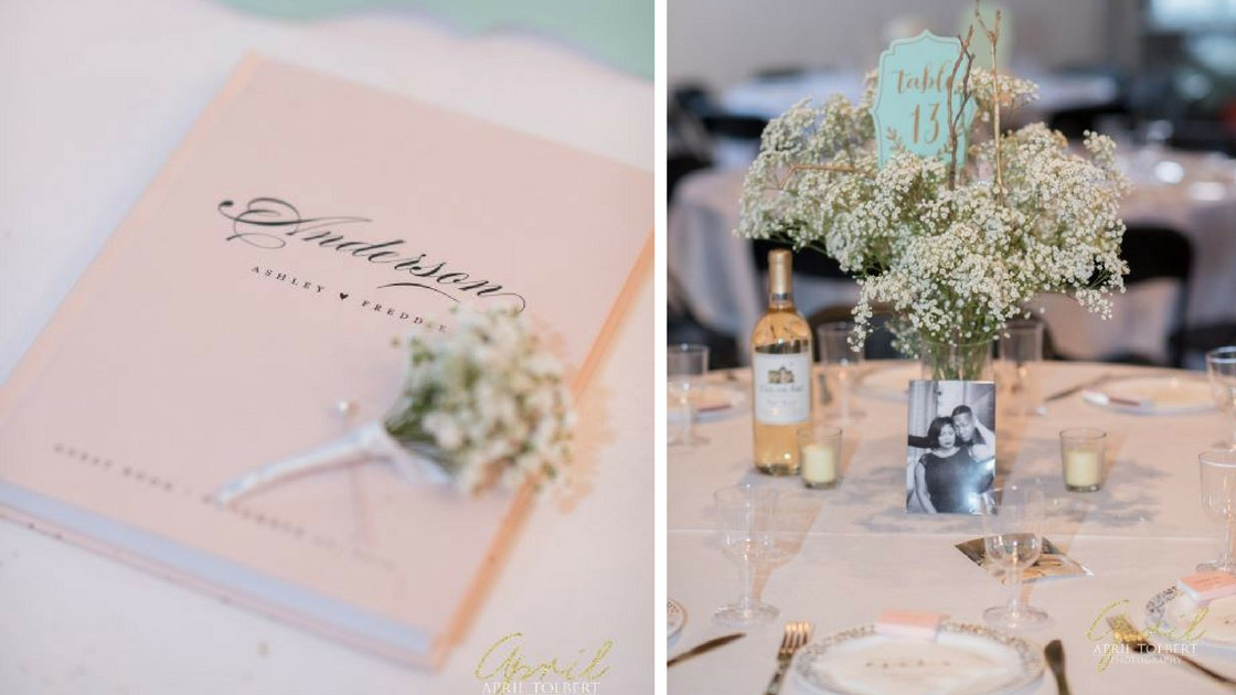 babys breath florals, blue table markers, and gold place settings