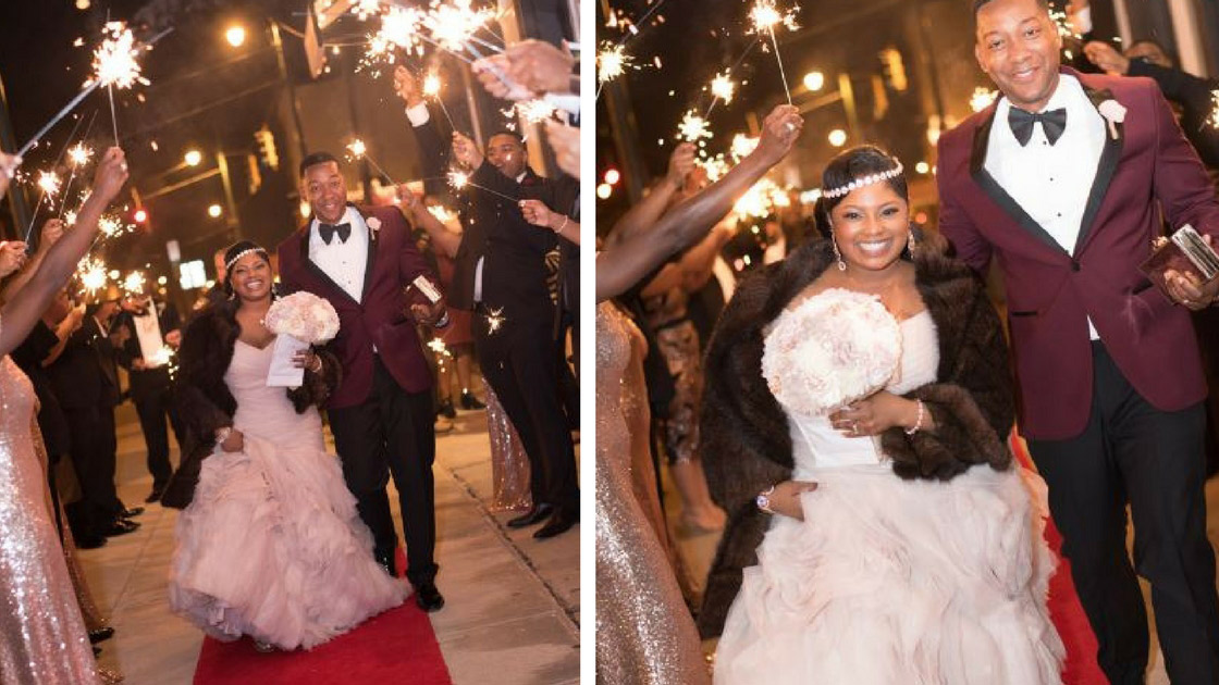 bride and groom exit under sparklers