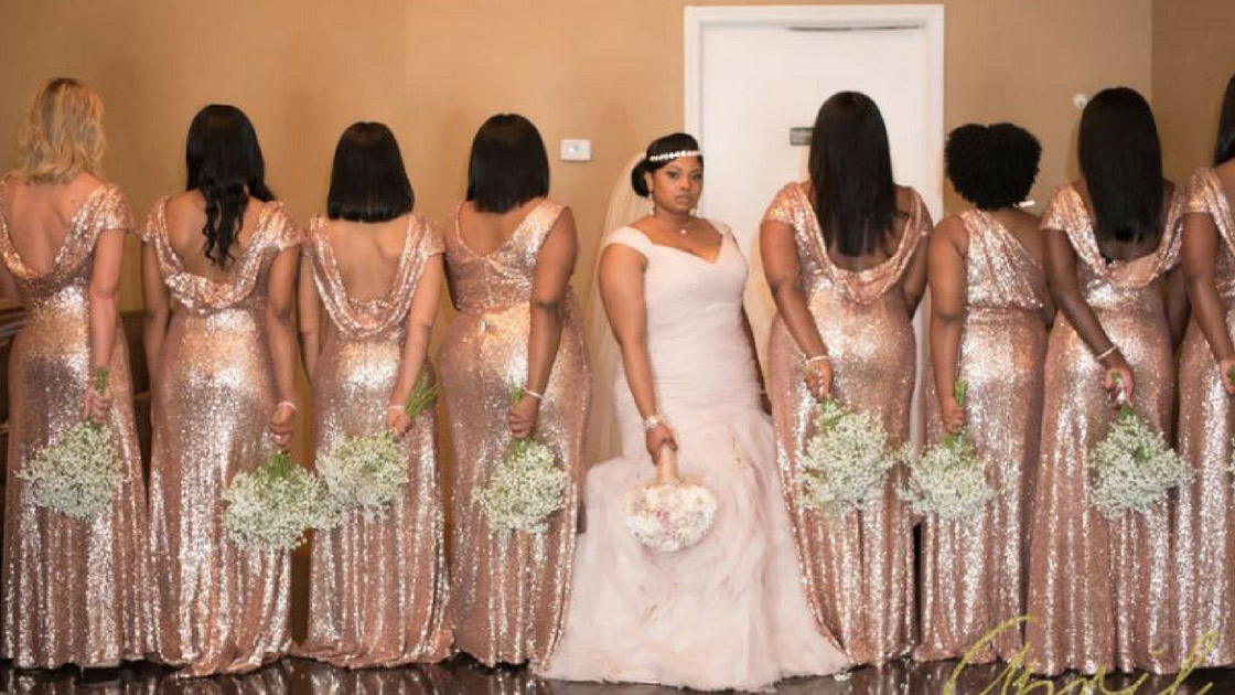 rose gold sequin dresses mix and match bridesmaids