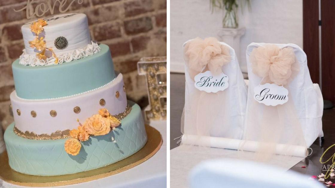 wedding details of cake and bride and groom chair