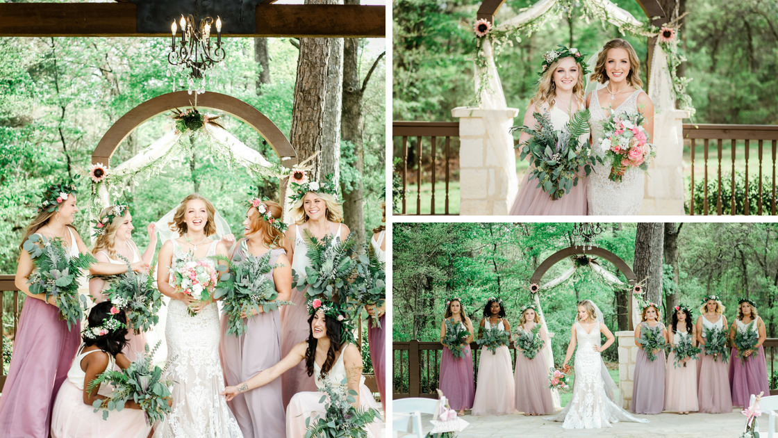 all the bridal poses with her bridesmaids behind.